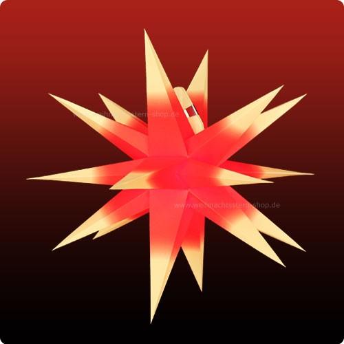 Annaberger Faltstern No. 3 ø 35 cm gelbe Spitzen mit rotem Kern