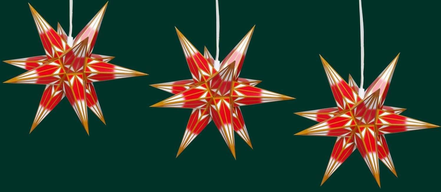 Haßlauer Weihnachtsstern 3er-Set rot/weiß mit goldgelbem Muster