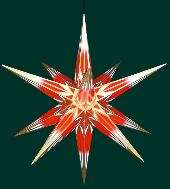 Haßlauer Weihnachtsstern für außen rot/weiß mit Goldmuster 75 cm