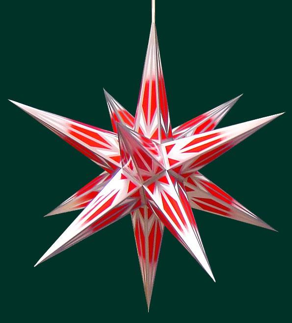 Haßlauer Weihnachtsstern für innen rot/weiß mit Silbermuster 65 cm