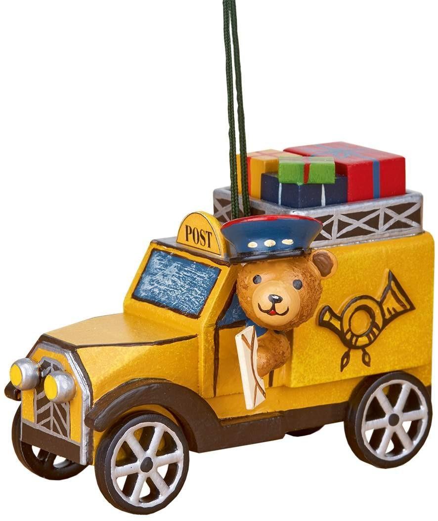 Hubrig Volkskunst - Baumbehang - Postauto mit Teddy