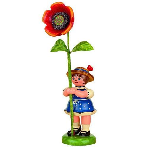 Hubrig - Blumenkinder - Blumenmädchen mit Mohnblume 7cm
