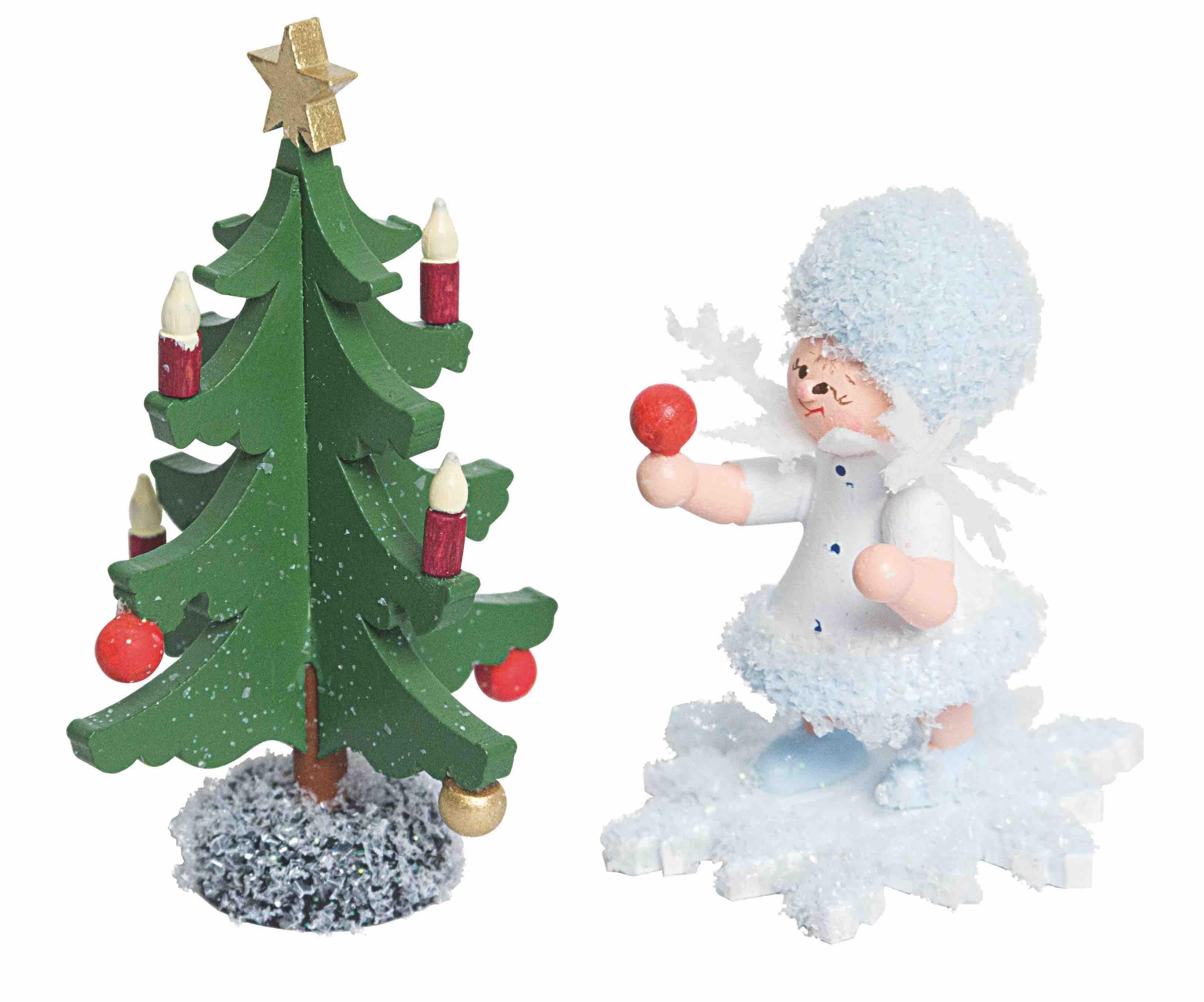 schneeflöckchen mit tannenbaum von der drechslerei kuhnert