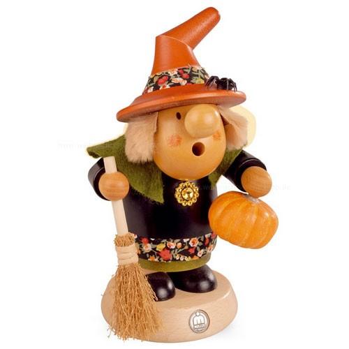 """Müller Räuchermann, Müllerchen """"Halloween Hexe mit Kürbis"""", 11x19cm"""