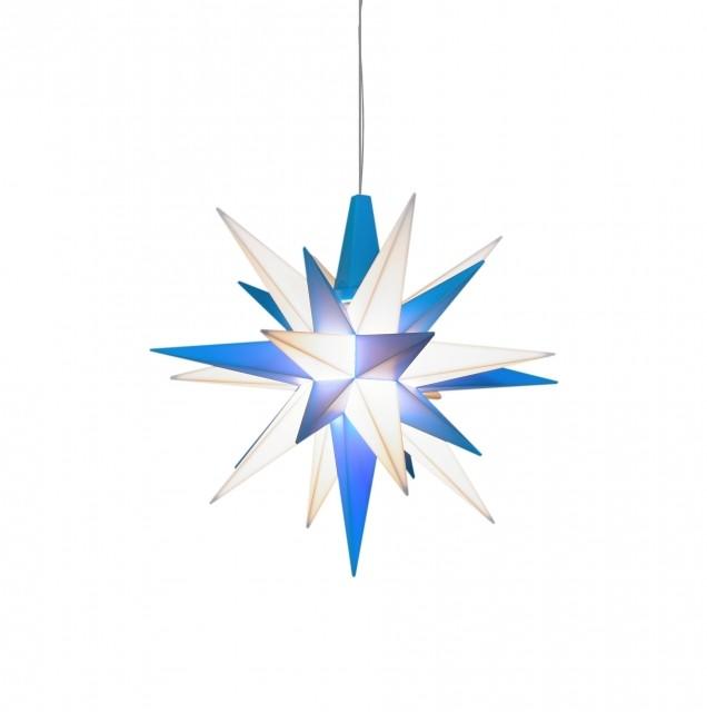 Original Herrnhuter Stern für innen ø ca. 13 cm blau / weiß (A1e) inkl. LED