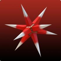 Großer Dresdner Weihnachtsstern mit weißen Spitzen und rotem Kern