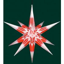 Haßlauer Weihnachtsstern für außen rot/weiß mit Silbermuster 75 cm inkl. LED