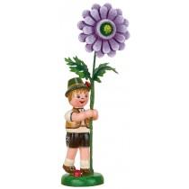 Hubrig Volkskunst - Blumenkinder - Blumenjunge mit Dahlie 11cm