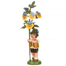 Hubrig Volkskunst - Frühling und Sommer - Blumenkinder - Blumenjunge mit Hornveilchen - 17 cm