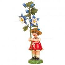 Hubrig Volkskunst - Frühling und Sommer - Blumenkinder - Blumenmädchen mit Akelei - 17 cm
