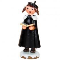 Hubrig Volkskunst - Winterkinder - Kurrendemädchen mit Buch und Zopf - 8 cm