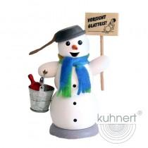 Kuhnert - Schneemann mit Schild Vorsicht Glatteis