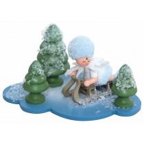 Kuhnert - Schneeflöckchen auf Wolke mit Schlitten
