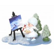 Kuhnert - Schneeflöckchen auf Wolke mit Staffelei