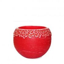 Lampionkerze mit weihnachtlicher Bordüre rot 120mm