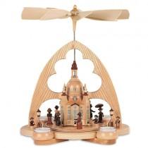 Müller Bogenpyramide ''Frauenkirche'' Spitzbogen 1-stöckig, natur mit Teelichte, 29x22x36cm