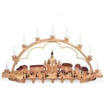 Müller Schwibbogen Alt Dresden groß, natur elektrisch beleuchtet, 103x22x55cm