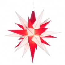 Original Herrnhuter Stern für innen ø ca. 13 cm weiß/rot (A1e) inkl. LED