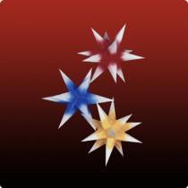 Dresdner Weihnachtsstern im Set rot/blau/gelb mit weißen Spitzen
