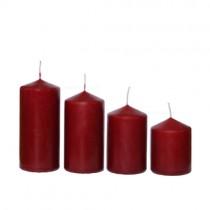 Stumpenkerzen abgestuft 4 Stück burgund 50x65 bis 110mm