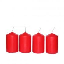 Stumpenkerzen 4 Stück rot 50x80mm