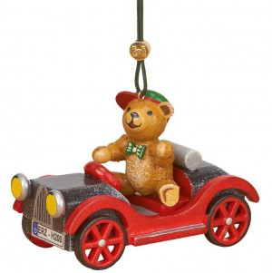 Hubrig Volkskunst - Baumbehang und Baumclipser - Auto mit Teddy
