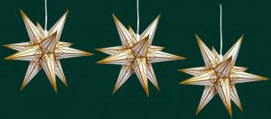 Haßlauer Weihnachtsstern 3er-Set weiß mit goldgelbem Muster