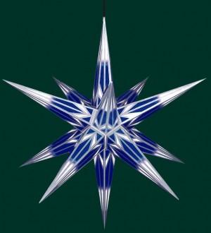 Haßlauer Weihnachtsstern für außen blau/weiß mit Silbermuster 75 cm inkl. LED