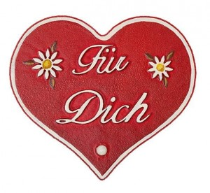 Hubrig Volkskunst - Magnetpin Herzen - Für Dich - 8 cm