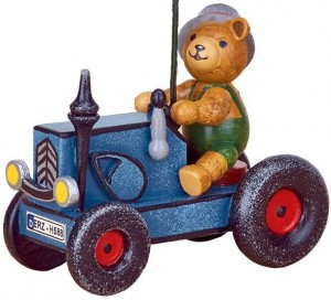 Hubrig Volkskunst - Baumbehang - Traktor mit Teddy
