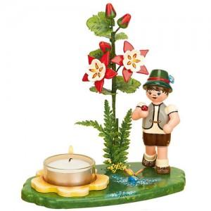 Blumenkinder - Lichterhalter Blumenjunge mit Akelei 17cm