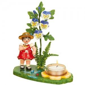 Blumenkinder - Lichterhalter Blumenmädchen mit Hornveilchen 17cm