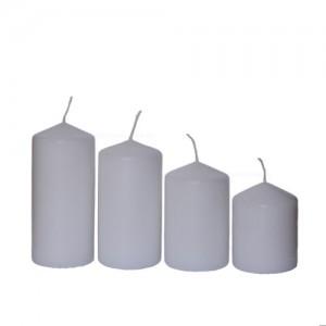 Stumpenkerzen abgestuft 4 Stück weiß 50x65 bis 110mm